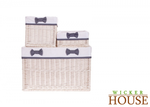 White Wicker Baskets Set